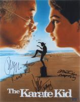 "Ralph Macchio, William Zabka, & Martin Kove Signed ""The Karate Kid"" 16x20 Photo With Multiple Inscriptions (Radtke COA) at PristineAuction.com"