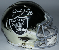 Josh Jacobs Signed Raiders Full-Size Authentic On-Field Chrome Speed Helmet (Beckett COA & Jacobs Hologram) at PristineAuction.com