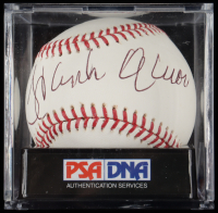 Hank Aaron Signed OML Baseball With Display Case (PSA LOA - Graded 9) at PristineAuction.com