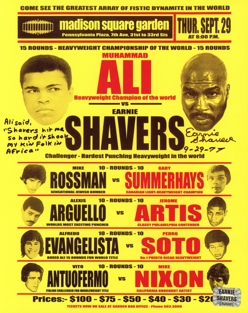 Earnie Shavers Signed 8x10 Replica 1977 Fight Poster vs. Muhammad Ali with Extensive Inscription (Shavers Hologram) at PristineAuction.com