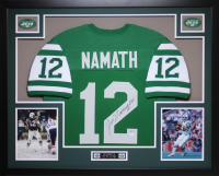 Joe Namath Signed Jets 35x43 Custom Framed Jersey Display (JSA COA) at PristineAuction.com