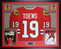 "Jonathan Toews Signed  35"" x 43"" Custom Framed Jersey (JSA COA) at PristineAuction.com"