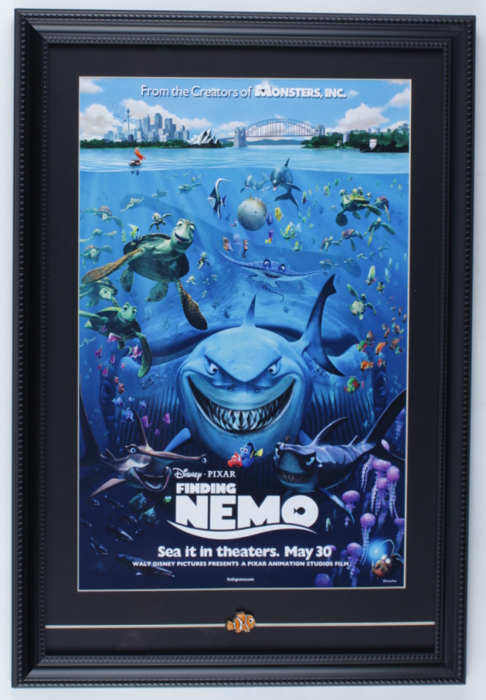 Finding Nemo 15x22 Custom Framed Poster Display with Nemo Pin at PristineAuction.com