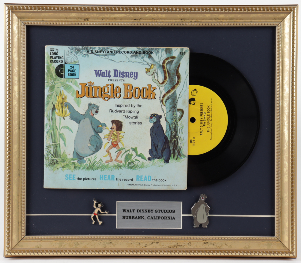"""Vintage """"The Jungle Book"""" 13x15 Custom Framed Vinyl Record Display with (2) Jungle Book Pins at PristineAuction.com"""