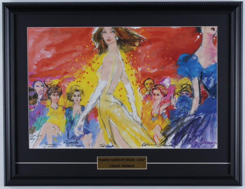 "LeRoy Neiman ""Paris Fashion Week 1993"" 17x22 Custom Framed Print Display with Princess Diana & Catherine Deneuve at PristineAuction.com"