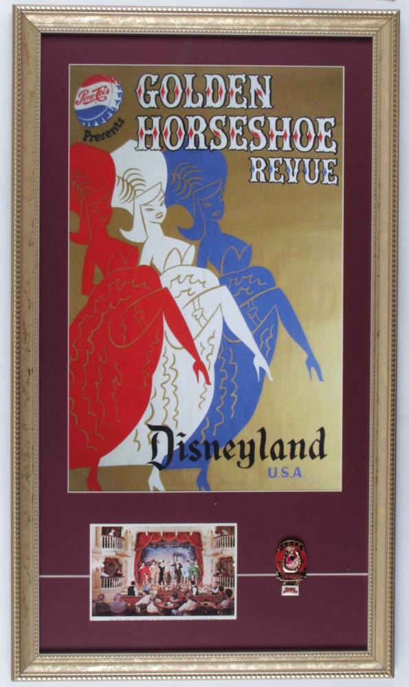 "Disney ""Golden Horseshoe Revue"" 14.5x25.5 Custom Framed Print with Disneyland Golden Horseshoe Lapel Pin & Vintage Souvenir Postcard at PristineAuction.com"