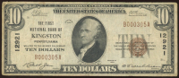 1929 $10 Ten Dollar First National Bank Currency Brown Seal Bank Note at PristineAuction.com