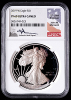 2019-W American Silver Eagle $1 One Dollar Coin - John M. Mercanti Signed Label (NGC PR69 Ultra Cameo) (Toned) at PristineAuction.com