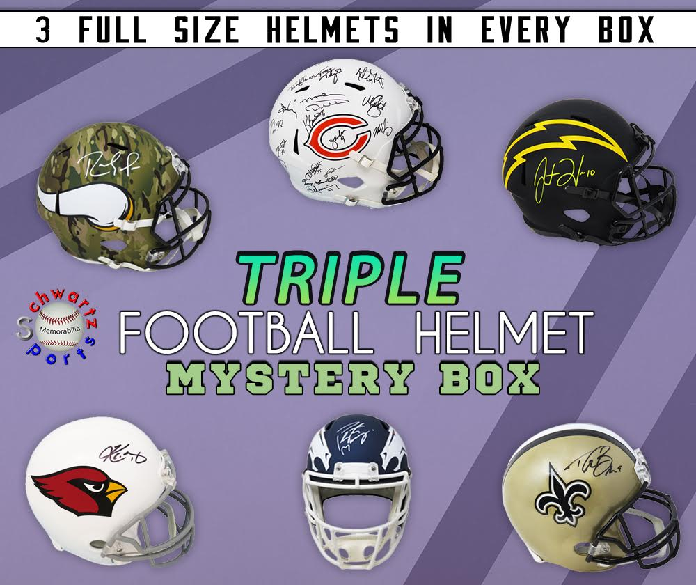 TRIPLE Full Size Football Helmet Signed Mystery Box – Series 3 (Limited to 75)(3 FULL SIZE HELMETS IN EVERY BOX!!!) at PristineAuction.com