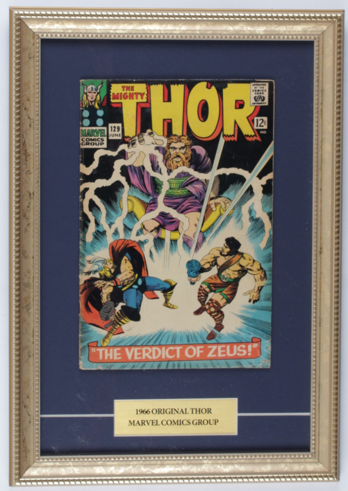 """Vintage 1966 """"Thor"""" Issue #129 Marvel 12x17 Custom Framed Comic Book Display at PristineAuction.com"""
