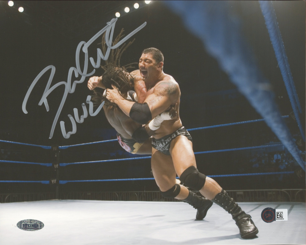 """Dave Bautista Signed WWE 8x10 Photo Inscribed """"WWE"""" (Steiner Hologram) at PristineAuction.com"""