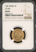 1881 $5 Five Dollars Liberty Head Gold Coin (NGC MS 64) at PristineAuction.com