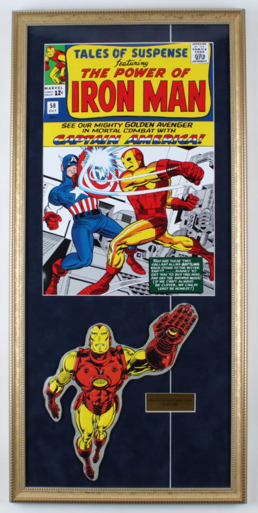 """Iron Man"" 16x33 Custom Framed Tin Die-Cut at PristineAuction.com"