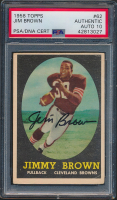 Jim Brown Signed 1958 Topps #62 RC (PSA Encapsulated) at PristineAuction.com