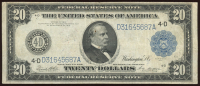 1914 $20 Twenty Dollars U.S. Blue Seal Federal Reserve Bank Note at PristineAuction.com