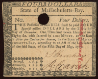 1780 Massachusetts $4 Colonial Currency Note at PristineAuction.com