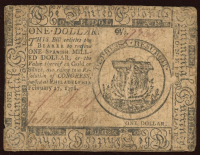 1776 Pennslyvania $1 Colonial Currency Note at PristineAuction.com