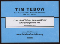 Tim Tebow signed Trading Card (Tebow COA) (See Description) at PristineAuction.com