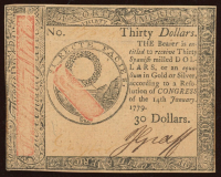 1779 $30 Colonial Currency Note at PristineAuction.com