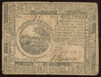 1776 Pennslyvania $6 Colonial Currency Note at PristineAuction.com