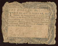 1775 Maryland $1 Colonial Currency Note at PristineAuction.com