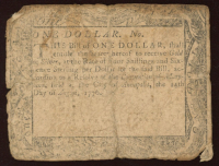 1776 Maryland $1 Colonial Currency Note at PristineAuction.com