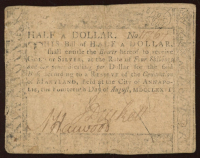 1776 Maryland Half-Dollar Colonial Currency Note at PristineAuction.com