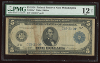 1914 $5 Five-Dollar Blue Seal U.S. Large-Size Federal Reserve Star Note (PMG 12) at PristineAuction.com