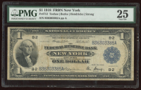 1918 $1 One-Dollar U.S. National Currency Large-Size Bank Note - The Federal Reserve Bank of New York, New York (PMG 25) at PristineAuction.com