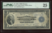 1918 $1 One-Dollar U.S. National Currency Large-Size Bank Note - The Federal Reserve Bank of Boston, Massachusetts (PMG 25) at PristineAuction.com