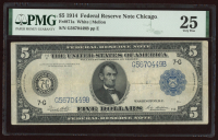 1914 $5 Five-Dollar Blue Seal U.S. Large-Size Federal Reserve Note (PMG 25) at PristineAuction.com