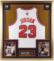 Michael Jordan Bulls 32x36 Custom Framed Jersey Display with 6-Time Champion Banner Pin at PristineAuction.com