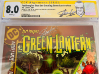 """Stan Lee Signed 2002 """"Just Imagine Stan Lee: Creating Green Lantern"""" Issue #1 Marvel Comic Book (CGC Encapsulated - 8.0) at PristineAuction.com"""