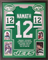 Joe Namath Signed 34x42 Custom Framed Jersey Display (Steiner COA & Fanatics Hologram) at PristineAuction.com
