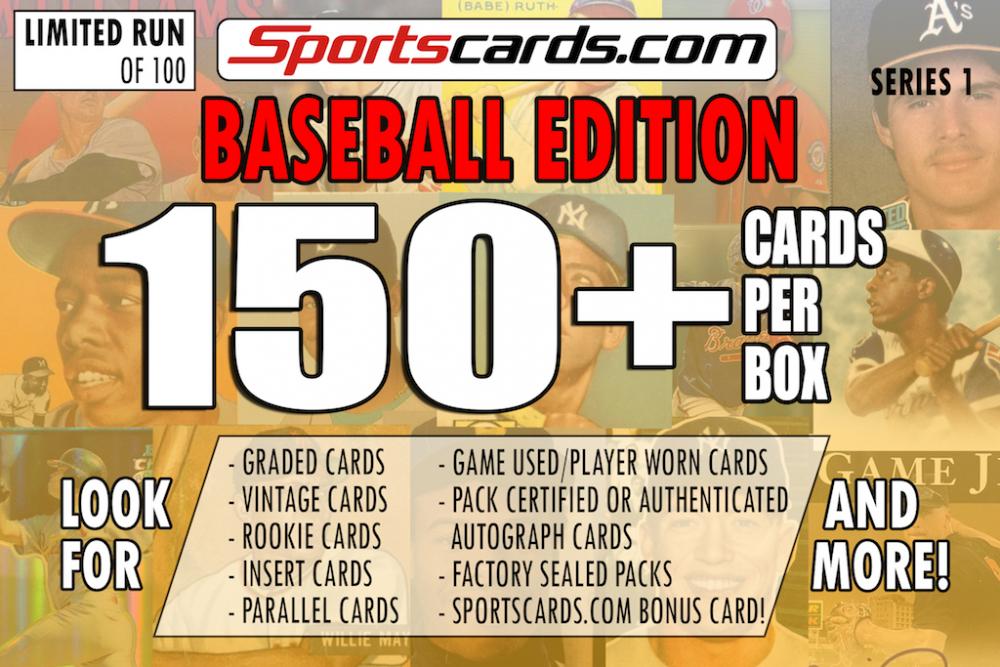 "Sportscards.com "" BASEBALL MYSTERY BOX"" 150 + CARDS PER BOX ! – SERIES 1 at PristineAuction.com"