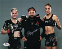 "Pavel Fedotov, Valentina Shevchenko & Antonina Schevchenko Signed UFC 8x10 Photo Inscribed ""Bullet"" & ""La Pantera"" (PSA COA) at PristineAuction.com"