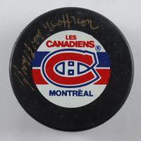 "Bernie ""Boom Boom"" Geoffrion Signed Canadiens Logo Hockey Puck (JSA COA) at PristineAuction.com"