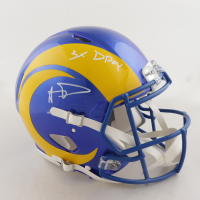 """Aaron Donald Signed Rams Full-Size Authentic On-Field Speed Helmet Inscribed """"3x DPOY"""" (JSA COA) at PristineAuction.com"""