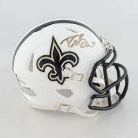 Drew Brees Signed Saints Matte White Speed Mini Helmet (Beckett COA & Brees Hologram) at PristineAuction.com