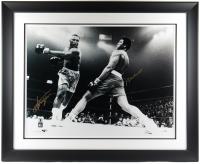 Muhammad Ali & Joe Frazier Signed 42.5x52.5 Custom Framed Photo Display (Beckett LOA) at PristineAuction.com