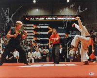 "Ralph Macchio & William Zabka Signed ""The Karate Kid"" 16x20 Photo Inscribed ""Wax On"" (Beckett COA) at PristineAuction.com"
