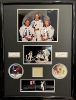 "Michael Collins, Buzz Aldrin & Neil Armstrong Signed ""Apollo 11"" 27x36 Custom Framed Cut Display (JSA LOA & JSA COA) at PristineAuction.com"