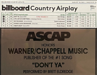 """Brett Eldredge """"Don't Ya"""" 9x22 Custom Framed ASCAP #1 Song Honors Award at PristineAuction.com"""