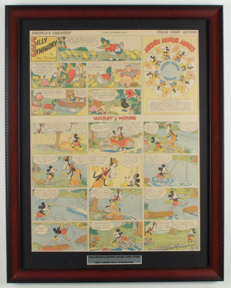 "Vintage Disney's ""Walt Disney's Mickey Mouse & Silly Symphony Cartoons"" 18.5x23.5 Custom Framed Comic Strip Display at PristineAuction.com"
