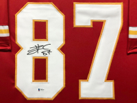 Travis Kelce Signed 34.5x42.5 Custom Framed Jersey (Beckett COA) at PristineAuction.com