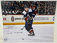 "Cale Makar Signed Avalanche 16x20 LE Photo Inscribed ""2020 Calder, 12G - 38A - 50PTS"" (Fanatics Hologram) at PristineAuction.com"