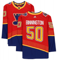 Jordan Binnington Signed Blues Jersey (Fanatics Hologram) at PristineAuction.com