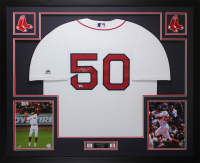 Mookie Betts Signed Red Sox 35x43 Custom Framed Jersey (Fanatics Hologram) at PristineAuction.com