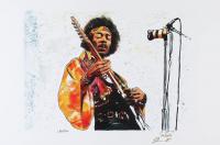 Jimi Hendrix - Joshua Barton 12x18 Signed Limited Edition Lithograph #/250 (PA COA) at PristineAuction.com