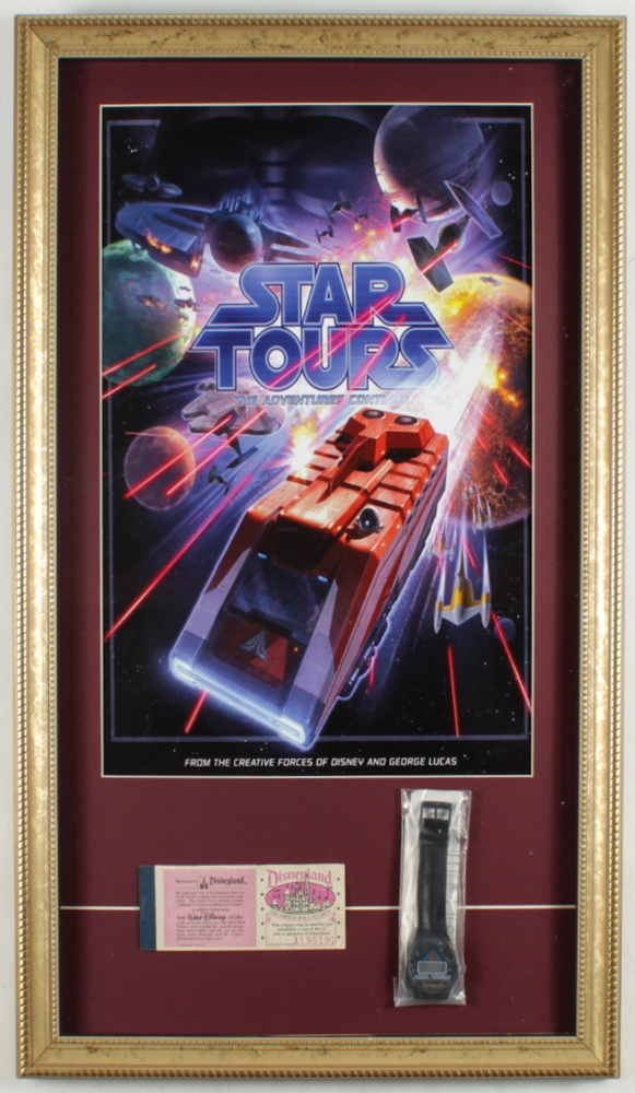 "Disneyland Tomorrowland ""Star Tours"" 15x26 Custom Framed Print Display with Vintage Ticket Booklet & Star Tours Watch in Original Package at PristineAuction.com"